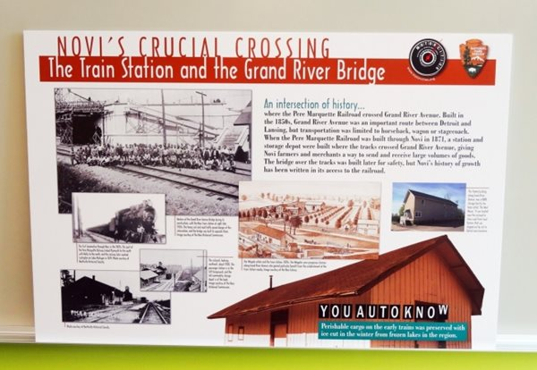 Mortorcities Marker - Novi's Crucial Crossing: The Train Station and the Grand River Bridge